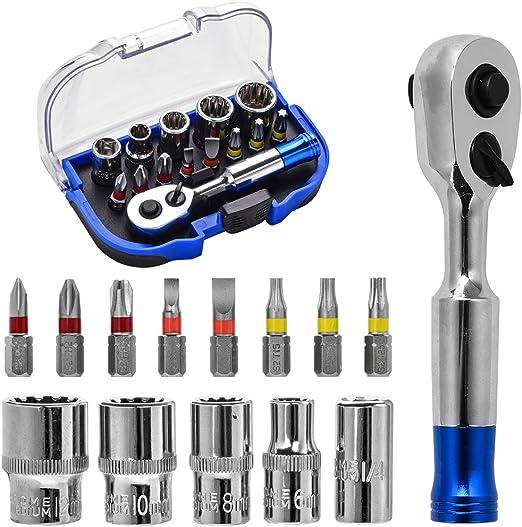 Juego de llaves de carraca y destornillador multiherramienta para reparaci/ón de llaves de vaso y llaves de vaso r/ápidas de 1//4 pulgadas Kennso