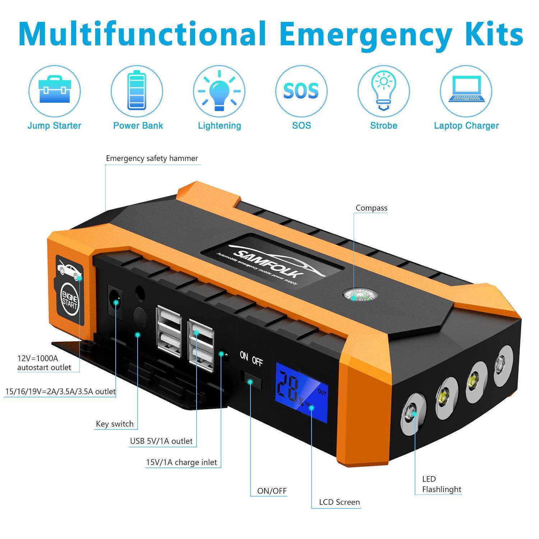 D/émarreur Portable 800A avec Lampe LED Chargeur de Batterie Lithium 12V pour Voiture Diesel//Essence Samfolk Booster de D/émarrage 20000mAh Jump Starter Facile pour D/ébutants