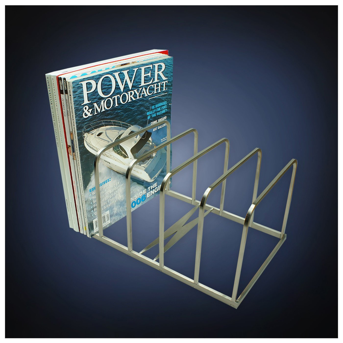 steel satin finish magazine holder binder mail letter document memo book organizer stand rack desk office accessory christmas gift office products
