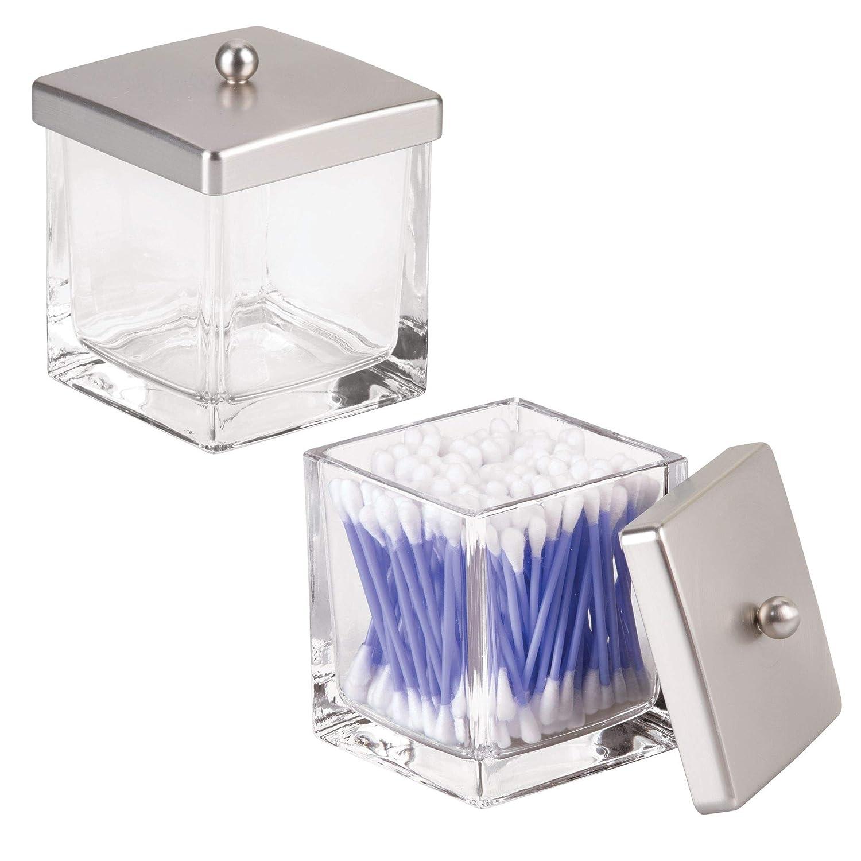 mDesign Set da 2 Barattoli con coperchio – Contenitori in vetro porta cotton fioc, dischetti struccanti, sali da bagno – In vetro – trasparente/argento opaco MetroDecor