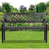 Patio Park Garden Bench Outdoor Metal Benches,400 lbs Cast Iron Steel Frame Chair w/PVC Mesh Pattern - for Park Yard Front Po