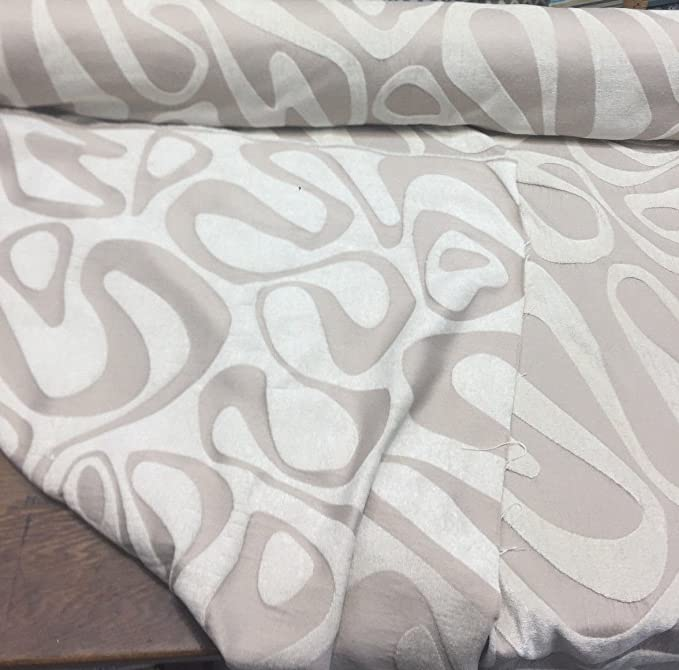 Kaleidoscope Abstract Chenille Beige Upholstery Fabric by the yard