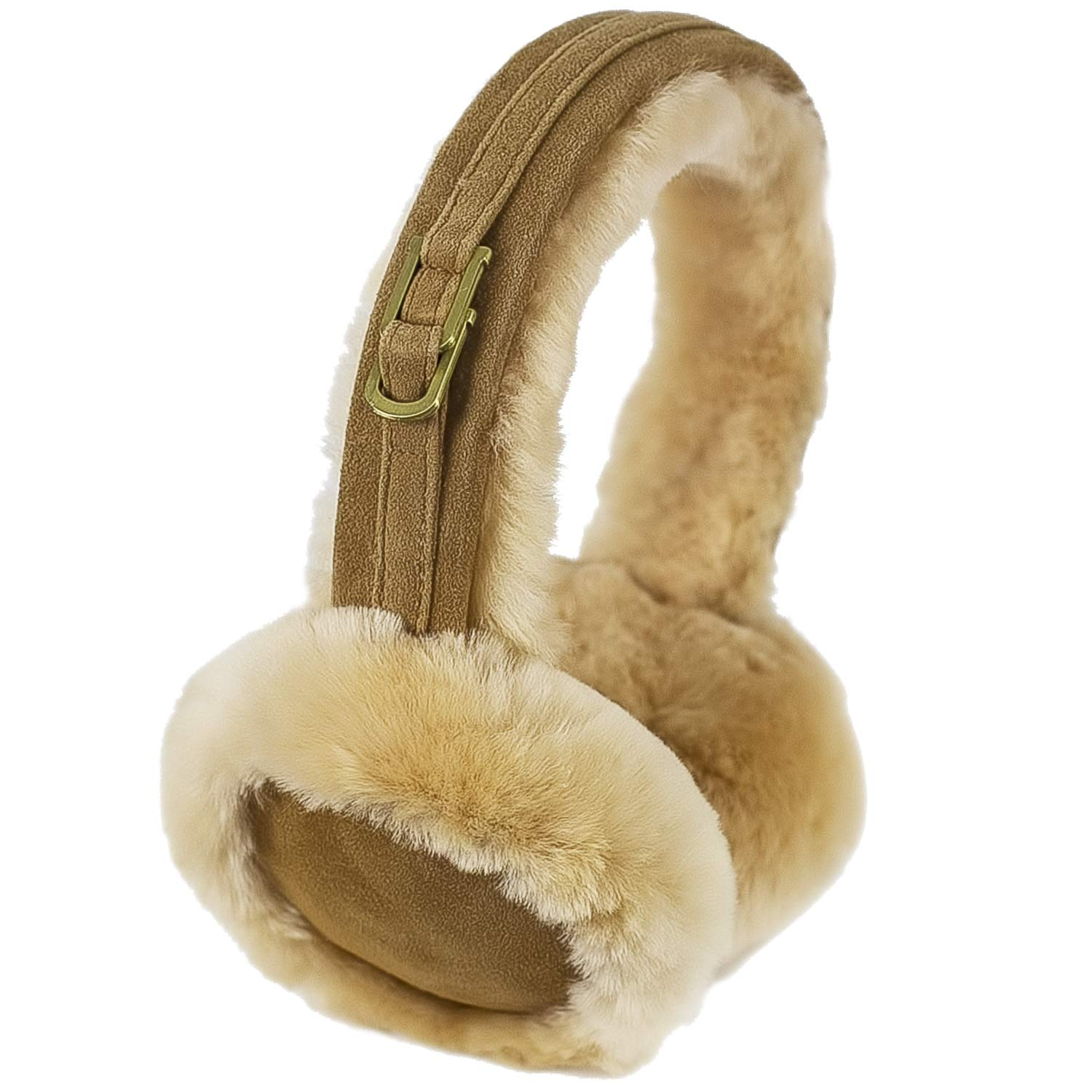 Warm & Fluffy Sheepskin Earmuffs For Women & Girls By Rors & Wren | Luxurious & Soft Sheep Skin Ear Muffs | Stylish Buckle & Chic Suede Finish | Cosy & Comfortable Ear Warmers | Perfect Gift Idea