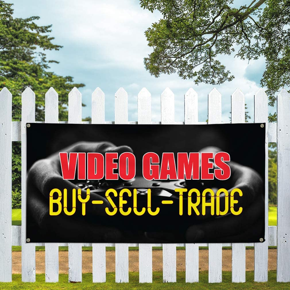48inx96in One Banner 8 Grommets Vinyl Banner Sign Video Games Buy-Sell-Trade #1 Outdoor Marketing Advertising Black Multiple Sizes Available