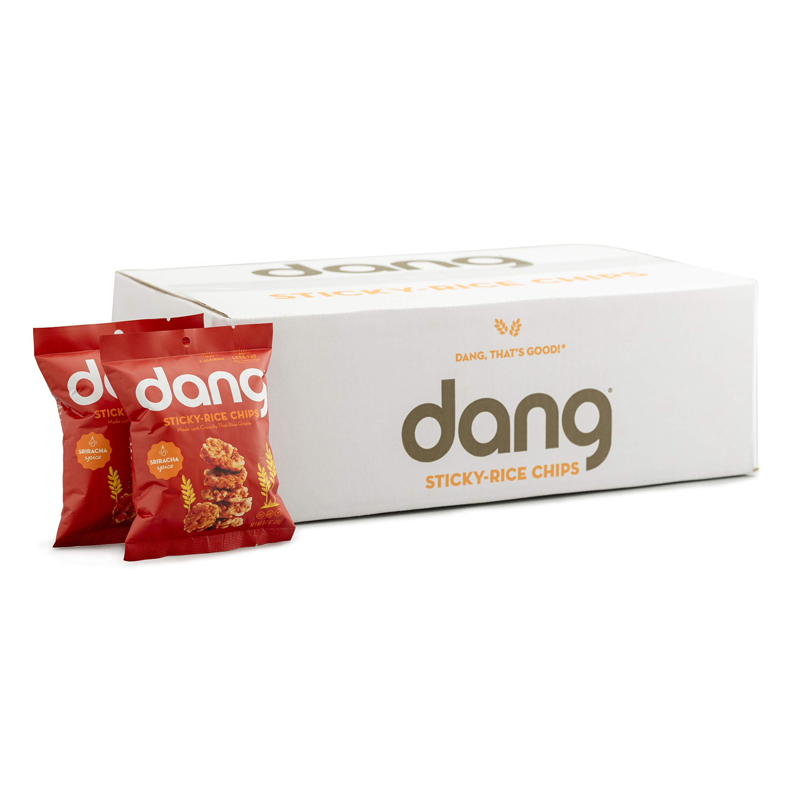 Dang Sticky-Rice Chips, Gluten-Free, Vegan, Non-GMO, Sriracha Spice 0.7 Ounce (24 Count) by DANG