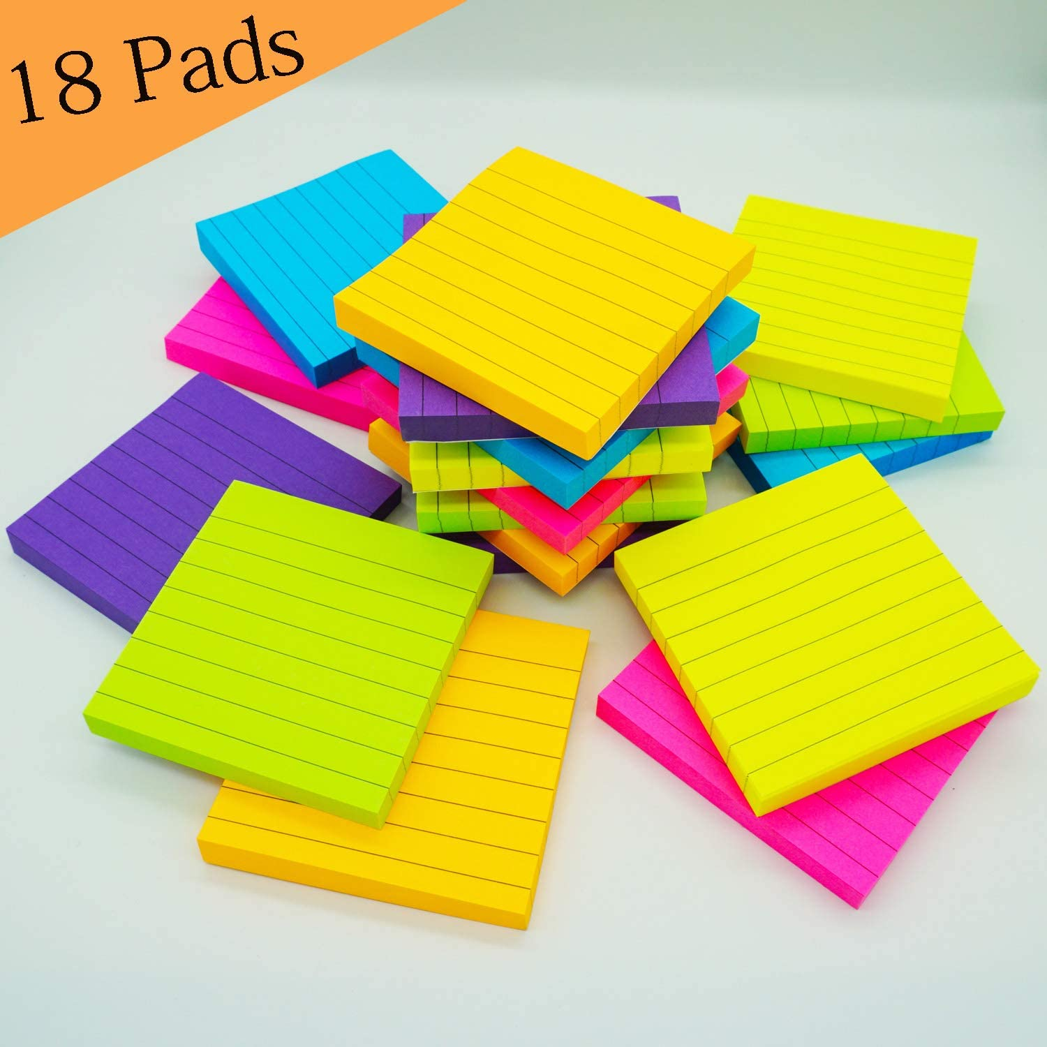 Sticky Notes 3x3 Inch 18 Pads Lined Bright Color