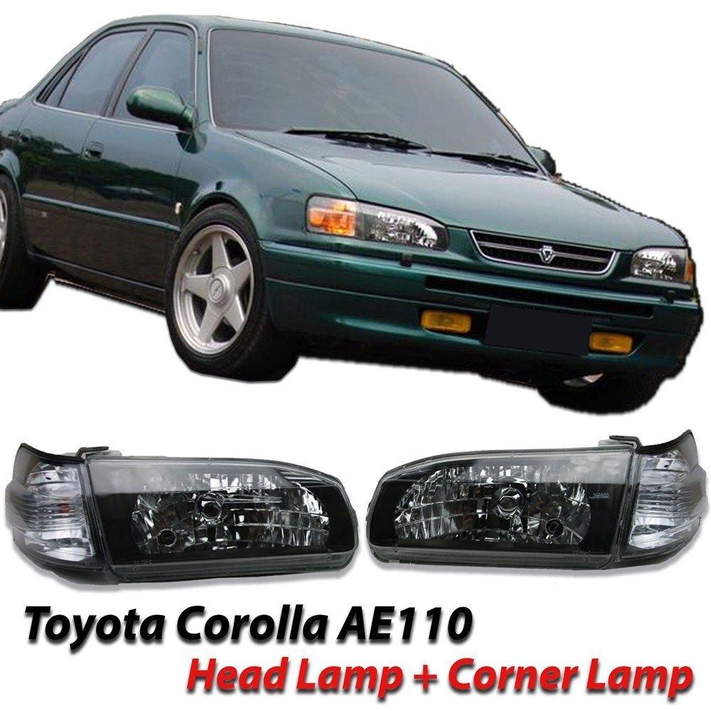 Amazon com toyota corolla sedan ae110 e110 headlight lamps 1996 1998 black head lights replacement assembly automotive