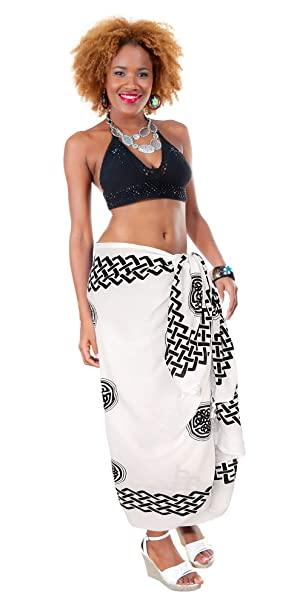 2fb43e6f3de 1 World Sarongs Womens Celtic Sarong Interlace Knotwork in Black/White