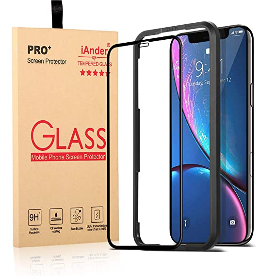 low priced 9f8f2 c770d Amazon.com: iAnder for iPhone XR Glass Screen Protector - [Full ...