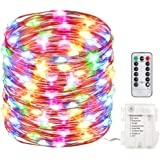 EchoSari 100 Led 33ft Fairy Lights Fairy String Lights Battery Operated Waterproof 8 Modes Remote Control String Lights Copper Wire Firefly lights Christmas Decor Christmas Lights,Decor Lights for Party Xmas Bedroom Festival Wedding Dinner -- Multi Color/RGB