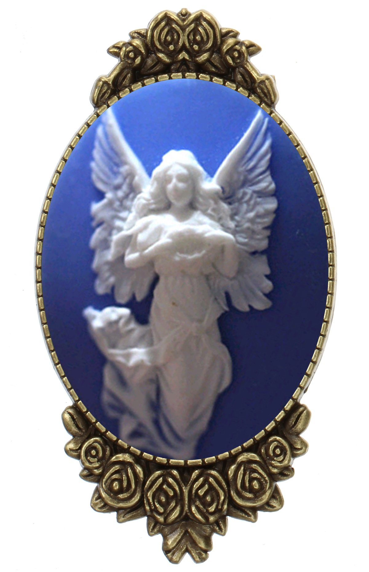 Angel Guardian Brooch Pin Rose Decor Antique Brass Fairy Fashion Jewelry Pouch for Gift