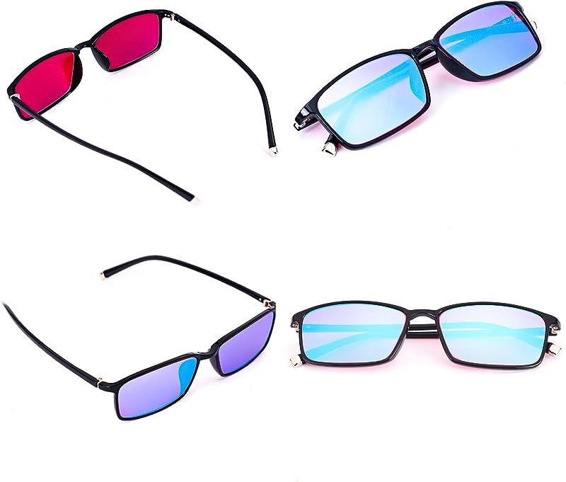 STBJ Color Blind Glasses for Men and Women with Red-Green Blindness,Purple Blue Lens,Fullframe