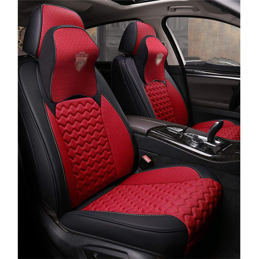 Red Car Seat Pad for Auto Car Office Chair Breathable Car Interior Seat Cover Cushion with Fiber Four Seasons Five Seats Universal
