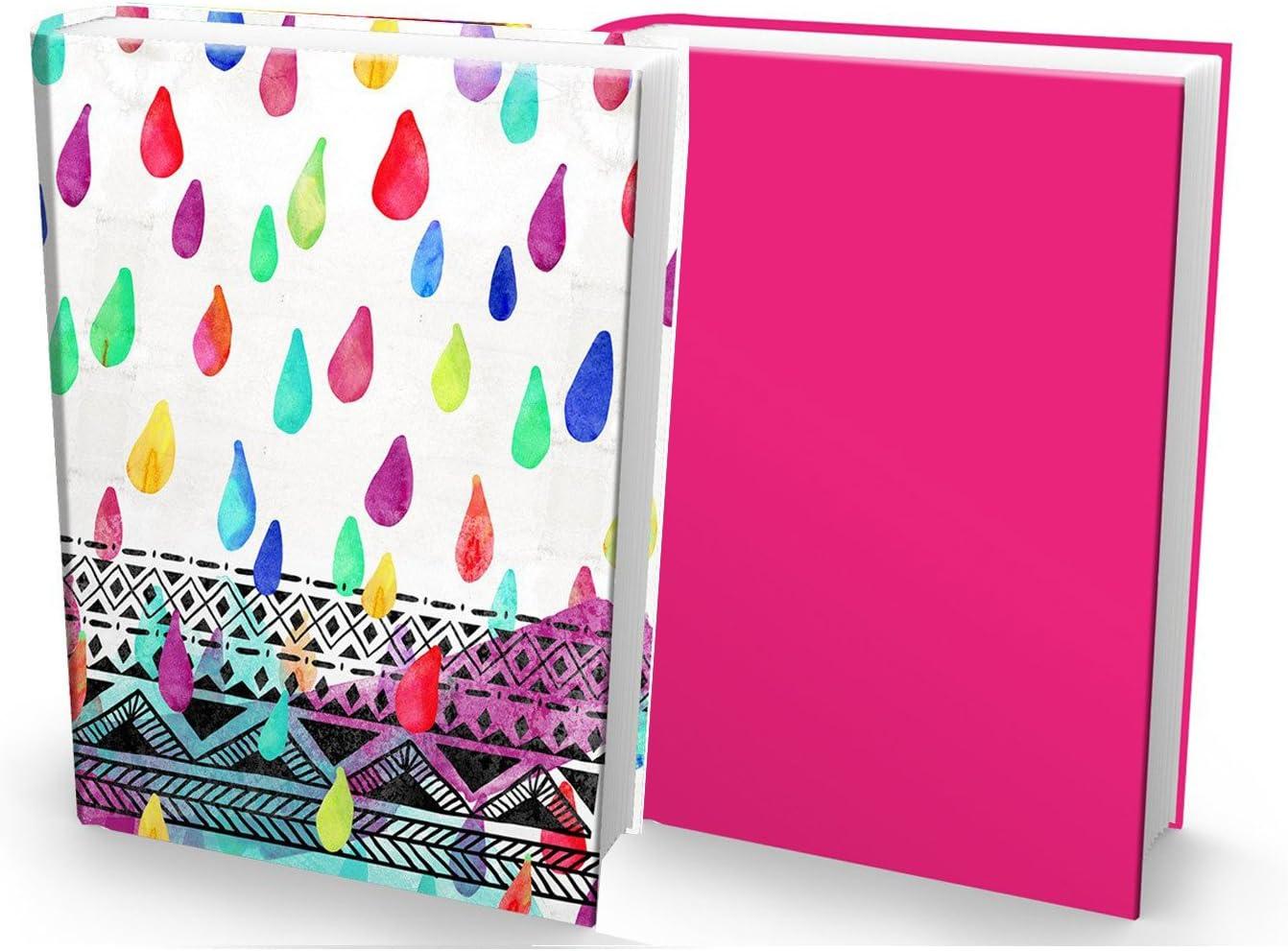 2 Items Watercolor Rain Drops Print and Magenta Solid Book Sox Fabric Jumbo Book Covers