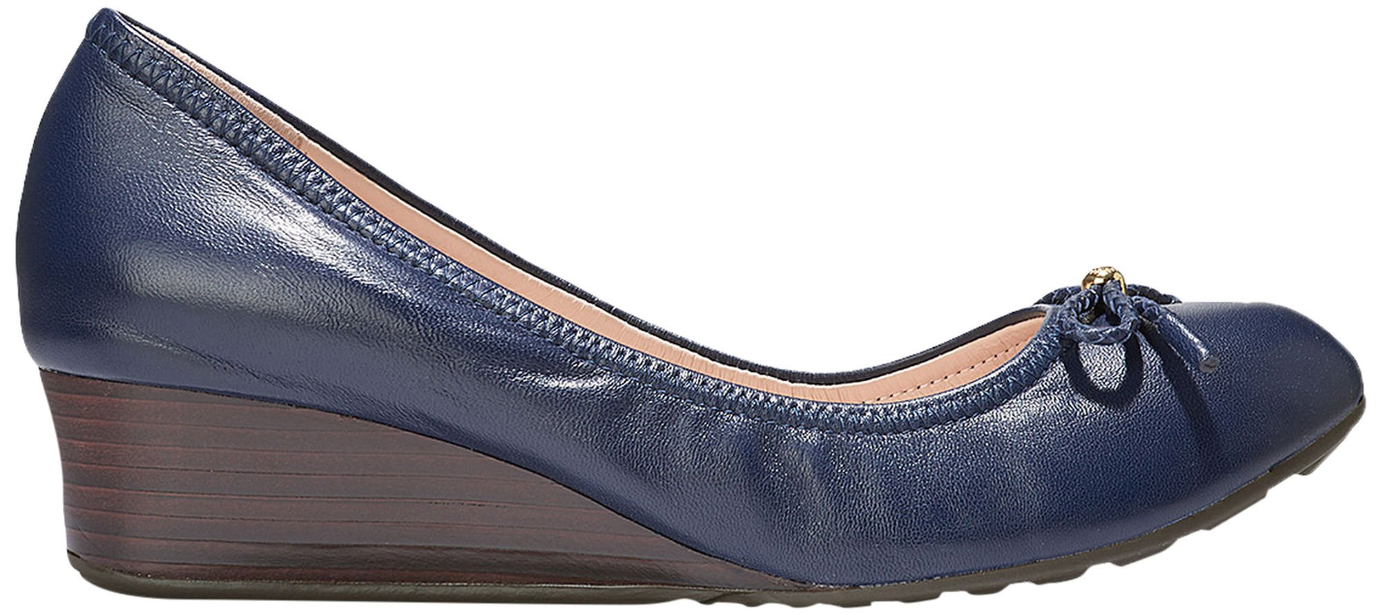 Cole Haan Womens Tali Grand Lace Wedge 40mm 9 Blazer Blue Leather