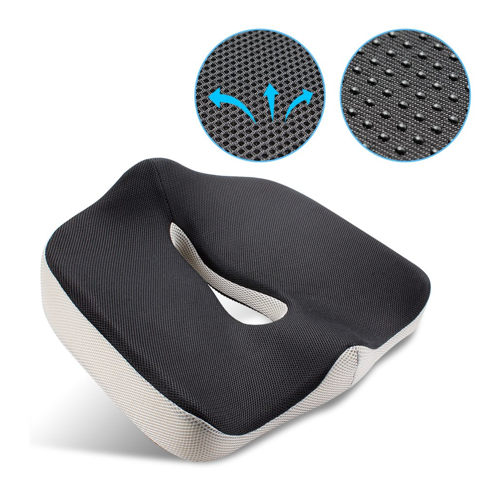 Mkicesky Orthopedic Coccyx Memory Foam Seat Cushion for Car, Office, Home and Travel, Helps with Lower Back, Hemorrhoid, Tailbone and Sciatica Pain Relief, Proper Spine Alignment,Hip Support Superior Abohone