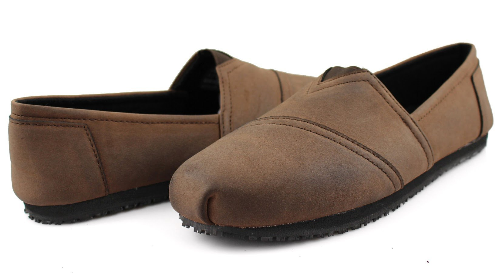 Townforst Women's Slip and Oil Resistant Non Slip Work Shoes Jess PU Leather Slip-On Flat Brown 9