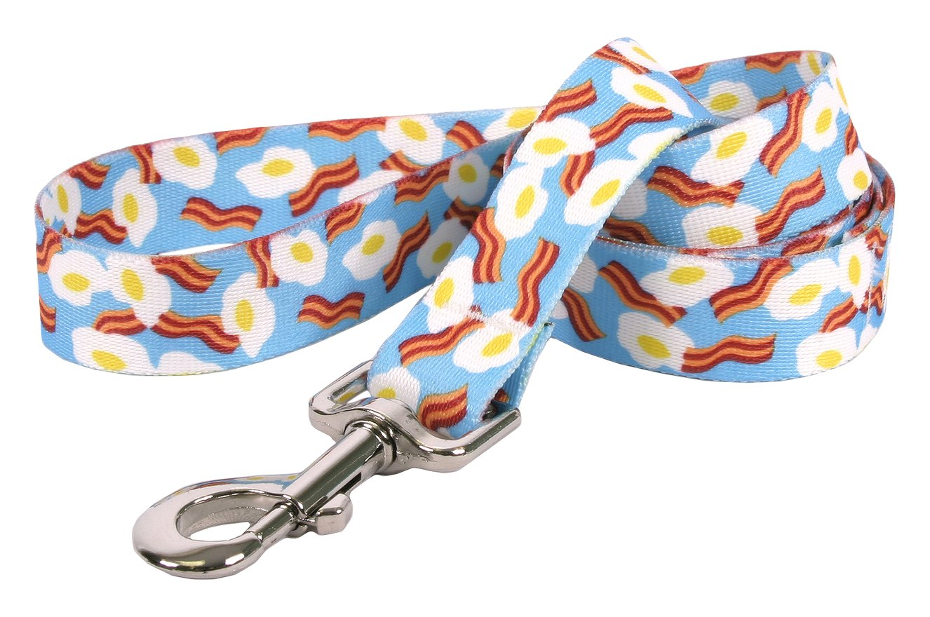 Yellow Dog Design Bacon and Eggs Dog Leash 1'' Wide and 5' (60'') Long, Large