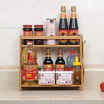 gewürzregal küche regal holz gewürze küchenzubehör regale 2 ebenen ... - Küchen Regale Holz