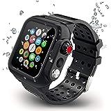 【2019新型】Apple Watch series4バンド Apple Watch液晶保護フィルム カバー 一体式 44mm対応 運動型 IP65防水 防塵 耐衝撃 傷防止