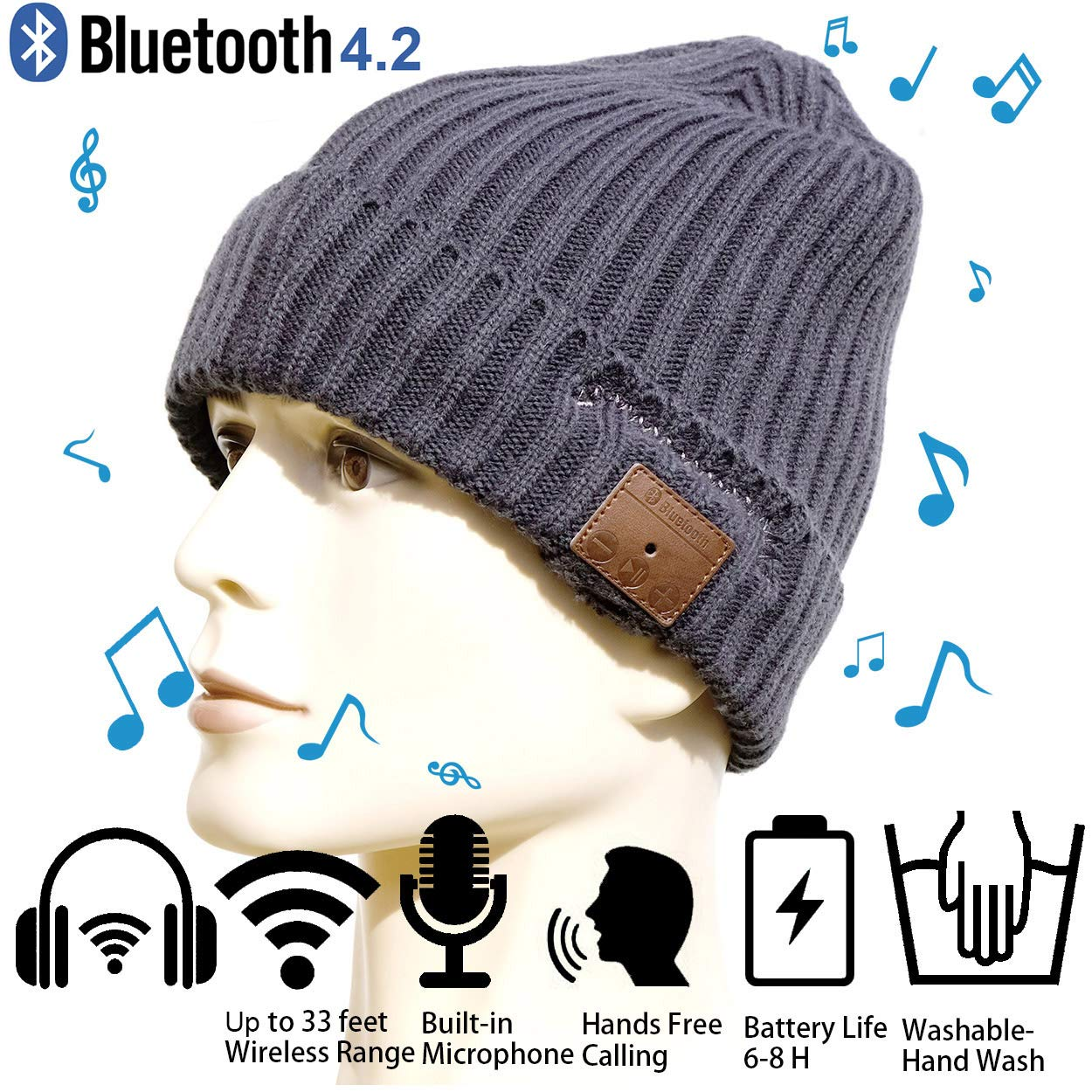 Christmas Tech Gift Bluetooth Beanie Winter Hat Running Headphones Wireless Musical Knit Cap with Stereo Headsets & Mic Unique Thick Warm hat for Women, Men, Boys and Girls (Gray) aGreatGift