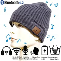 Christmas Tech Gift Bluetooth Beanie Winter Hat Running Headphones Wireless Musical Knit Cap with Stereo Headsets & Mic Unique Thick Warm hat for Women, Men, Boys and Girls (Gray)