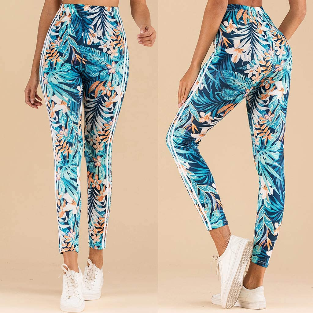 YSpoe Womens Sports Yoga Pants Tropical Jungle Stripe Print Leggings Plus Size Elastic Exercise Trousers Running Training Fitness