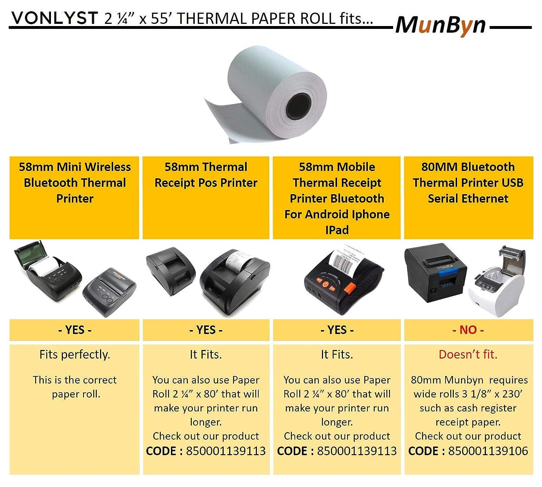 Munbyn 58mm Thermal Printer Receipt Paper Roll - 2 1/4 x 55 (Pack 50 rolls)
