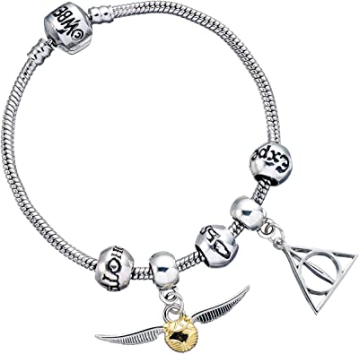 Harry Potter Silver Plated Charm Bracelet with 2 x Charms & Spell Beads