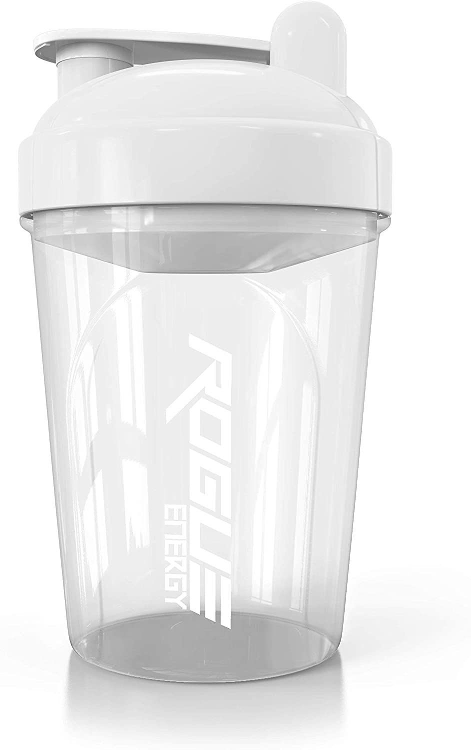 Rogue Energy Shaker Bottle | 16-Ounce, 500ml, BPA Free, Dishwasher Safe, Clear and White (Showcase Edition)