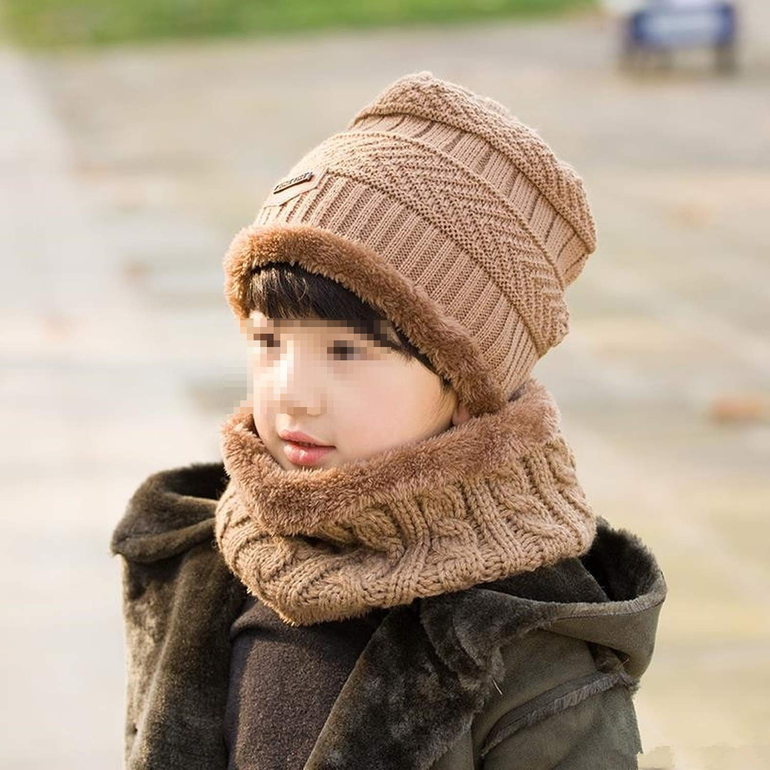 Nutsima Parent Child 2Pcs Super Warm Winter Balaclava Wool Beanies Knitted Hat and Scarf for 3-12 Years Old Girl Boy Hats