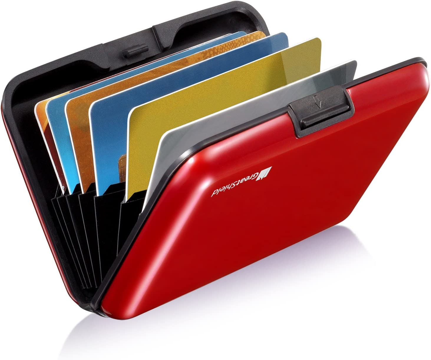 GreatShield RFID Blocking Wallet [8 Slots | Aluminum] Portable Travel Identity ID/Credit Card Safe Protection Card Holder Hard Case for Men and Women (Red)