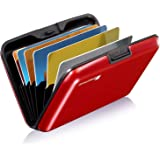 GreatShield RFID Blocking Wallet [8 Slots | Aluminum] Portable Travel Identity ID / Credit Card Safe Protection Card Holder Hard Case for Men and Women (Red)