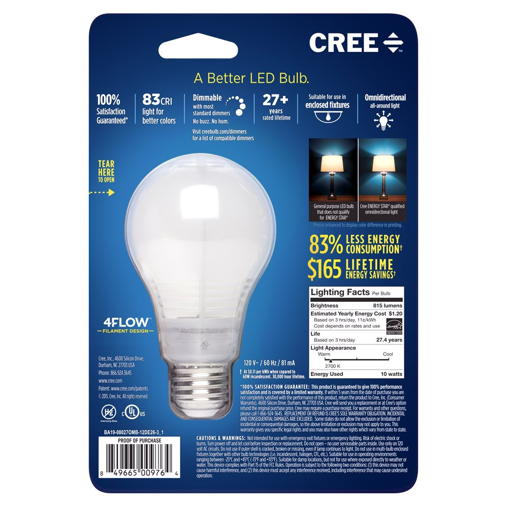 Cree ba19 08027omb 12de26 31 60w equivalent 2700k a19 led light cree ba19 08027omb 12de26 31 60w equivalent 2700k a19 led light bulb with 4flow filament design soft white amazon arubaitofo Images