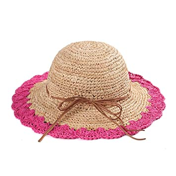 Eeayyygch Sombrero de Arco Sombrero de Paja Sombrero Redondo Grande Sombrero  de Sol Sombrero de Sol Sombrero de Fiesta Moda (Color   Rojo 009423d27e2