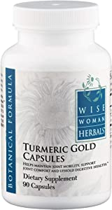 Wise Woman Herbals – Turmeric Gold – 90 Caps – All-Natural Curcumin Joint Aid – Supports Healthy Joint Function and Mobility – Maintains Normal Digestive Function – BioPerine® for Maximum Absorption