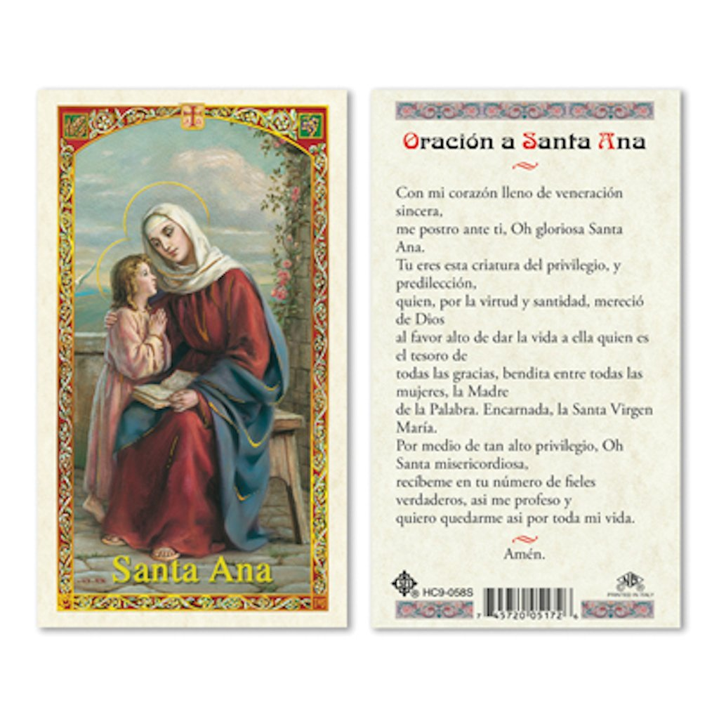 25//PKG SPANISH ST ANNE LAMINATED PRAYER CARDS
