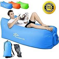 Jasonwell sofá Portable del Aire con el Bolso de Asimiento, Aire Interior al Aire Libre Que Duerme Ponen el Bolso para Lounging | Camping | Playa | Pesca, ect (Azul)