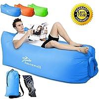 Jasonwell sofá Portable del Aire con el Bolso de Asimiento, Aire Interior al Aire Libre Que Duerme Ponen el Bolso para Lounging   Camping   Playa   Pesca, ect (Azul)