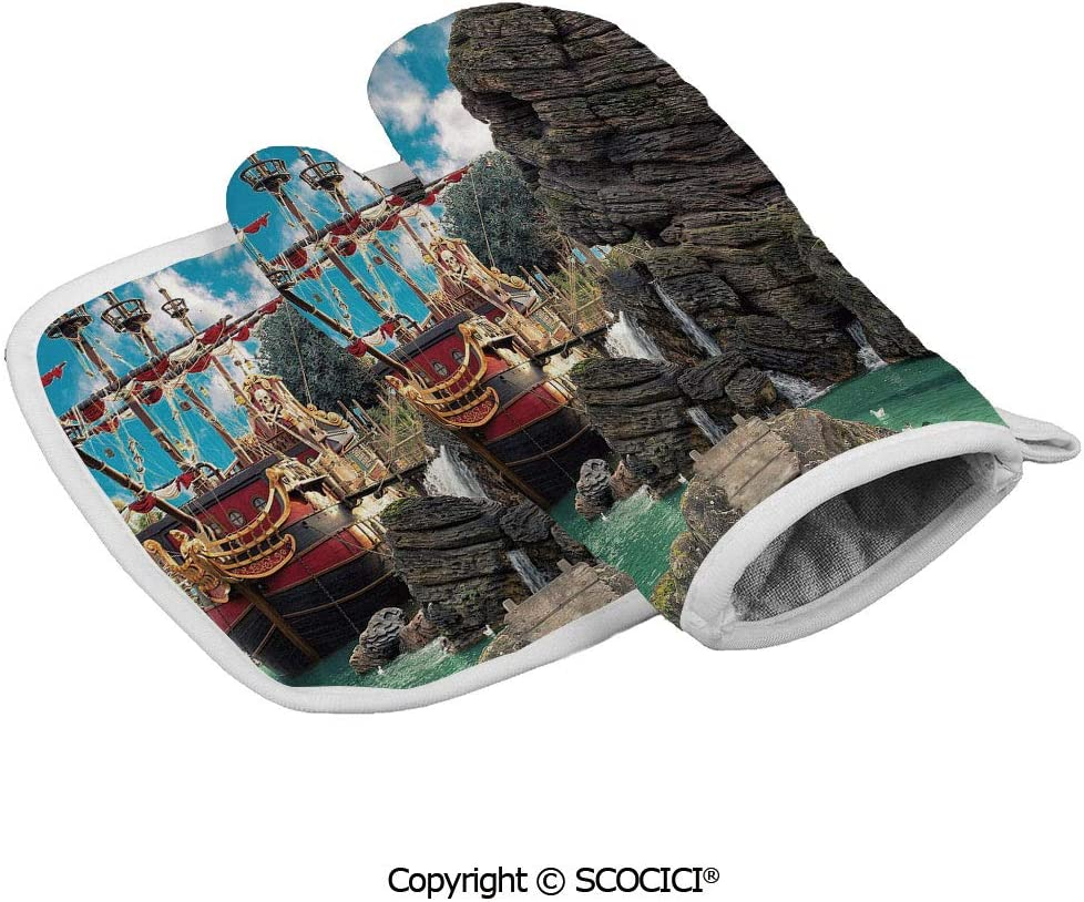 SCOCICI Baking Anti-Hot Glove Big Ancient Ship on Tropical Caribbean Seashore Pirate Island Large Rock Oven Microwave Mitts Pot with Square Mat