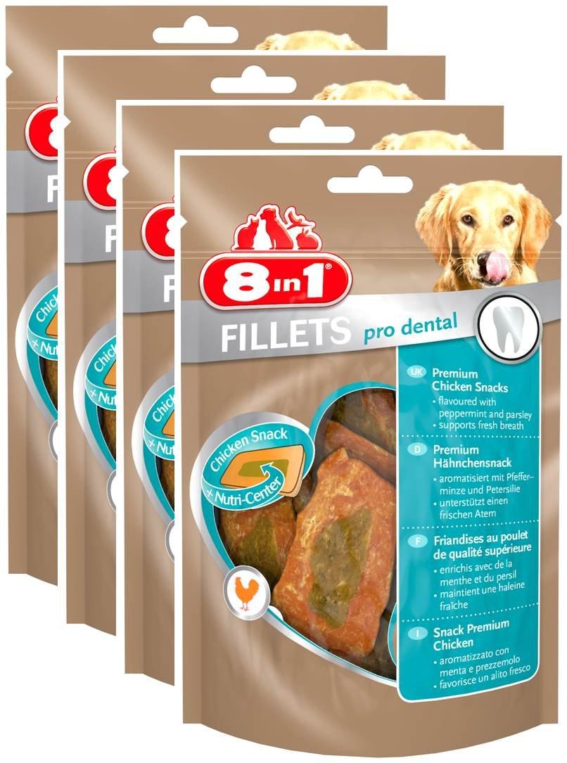 8 in 1 Fillets Pro Breath - Filets de poulet séchés Enrichis en menthe et persil pour Chien - Lot de 4 x 80g 8in1 111849