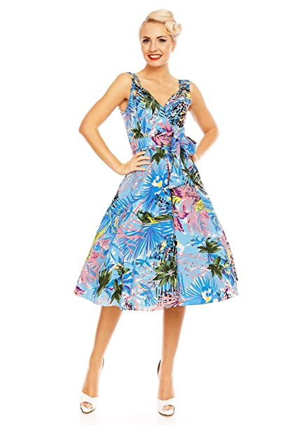 Looking Glam Retro Vintage Tropical Bird Summer 1452 Swing Dress …
