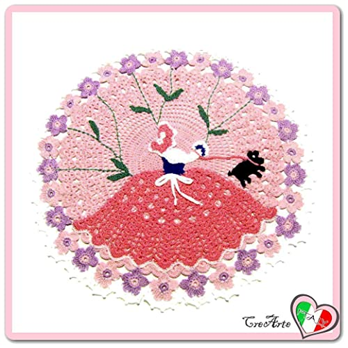 Tapete de ganchillo redondo rosa con dama en algodón ...