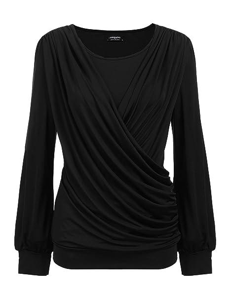 Amazon.com: Zeagoo blusa plisada de manga corta para mujer ...