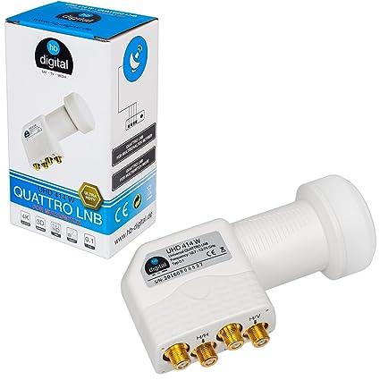HB-DIGITAL Quattro LNB LNC para el interruptor multi para ✨ FULL HD TV 3D 4K Blanco White ■ contactos chapados en oro ■ protección contra la ...