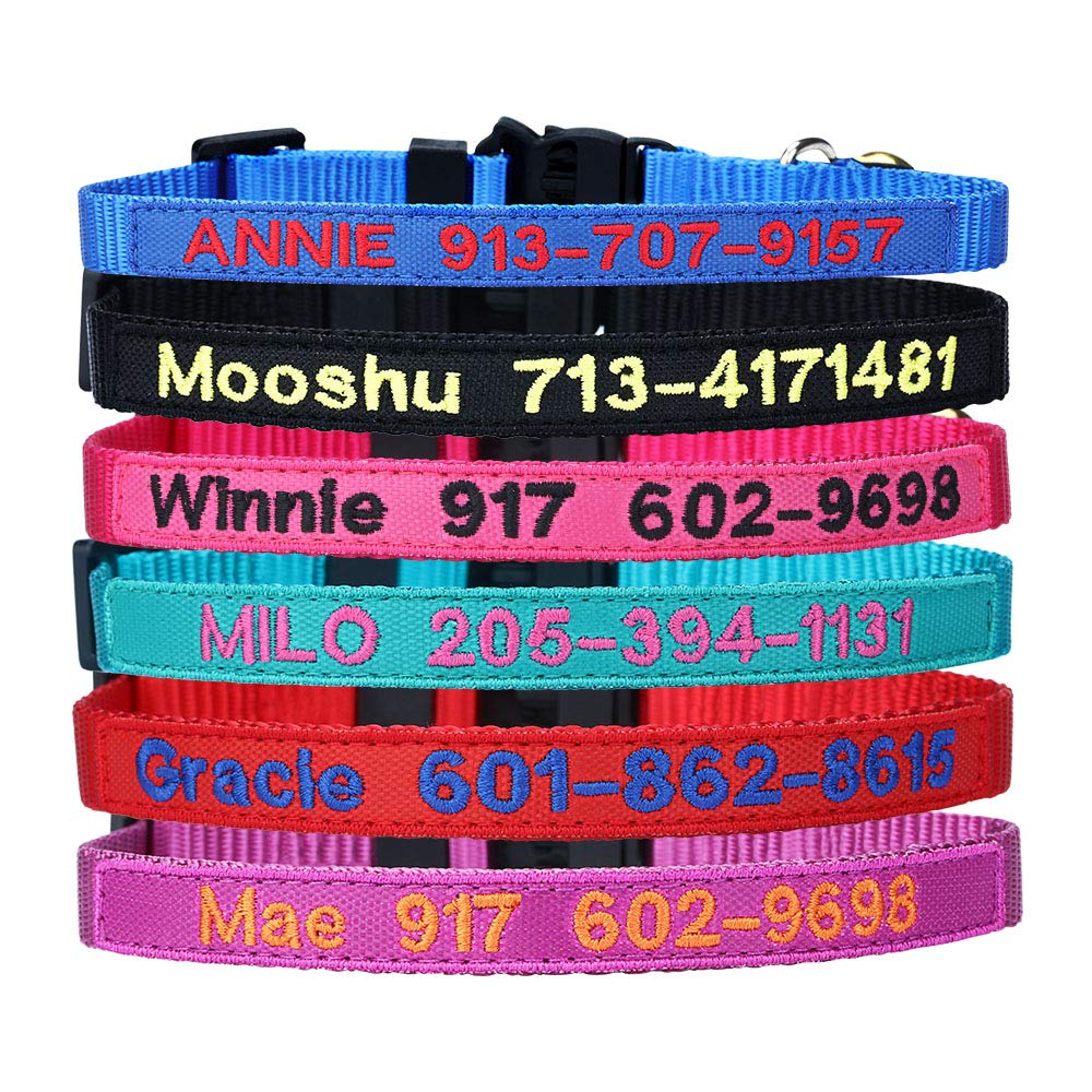Personalized Nylon Cat Collar Break Away with Bell – Custom Embroidered Text ID Collars with Pet Name and Phone Number…
