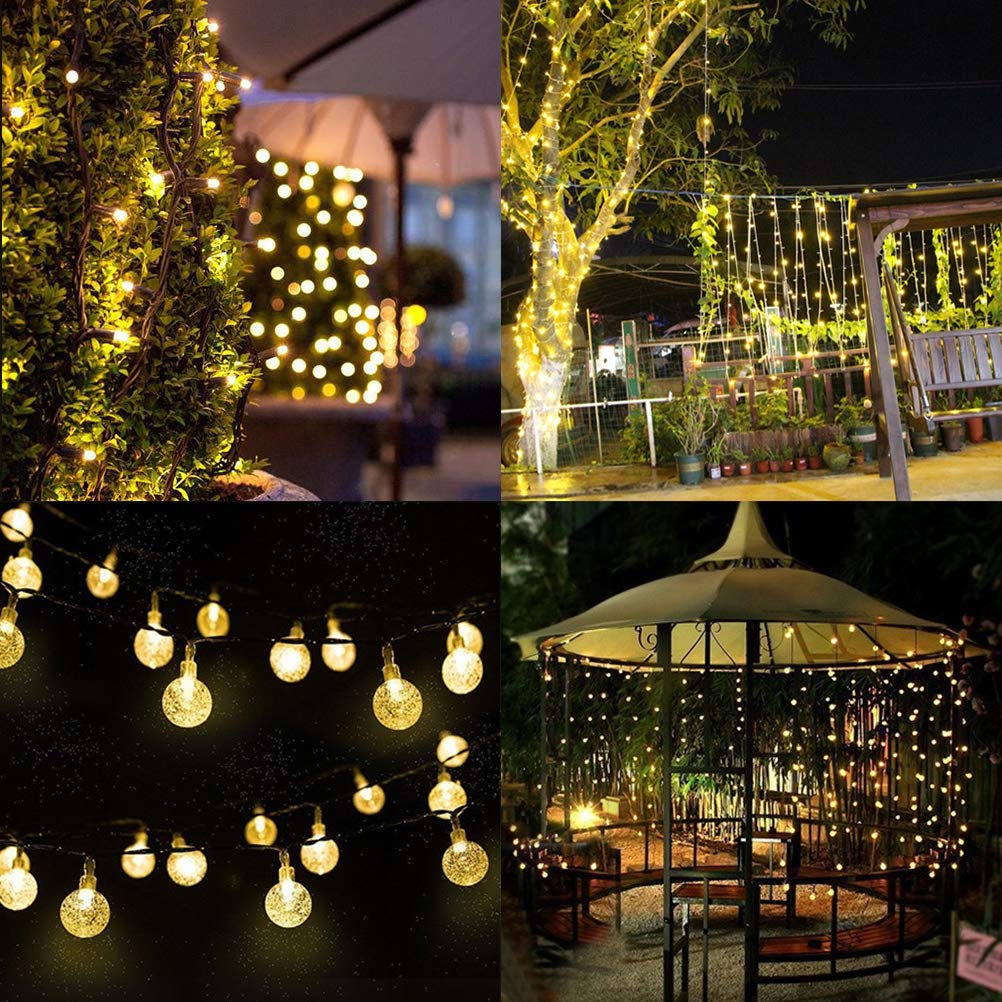 BOMEON Globe Solar String Lights 30 LED 21ft 8 Mode Bubble Crystal Ball Christmas Fairy String Lights for Outdoor Xmas Landscape Garden Patio Home Holiday Path Lawn Party Decoration (WarmWhite) by BOMEON (Image #3)