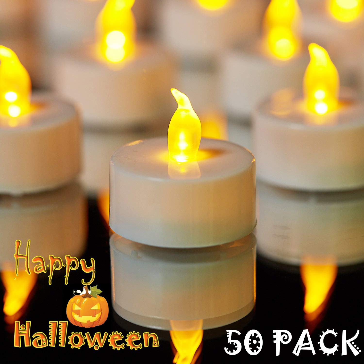 YIWER Tea Lights, LED Tea Light Candles 100 Hours Pack of 50 Realistic Flickering Bulb Battery Operated Tea Lights for Seasonal & Festival Celebration Electric Fake Candle in Warm Yellow by YIWER