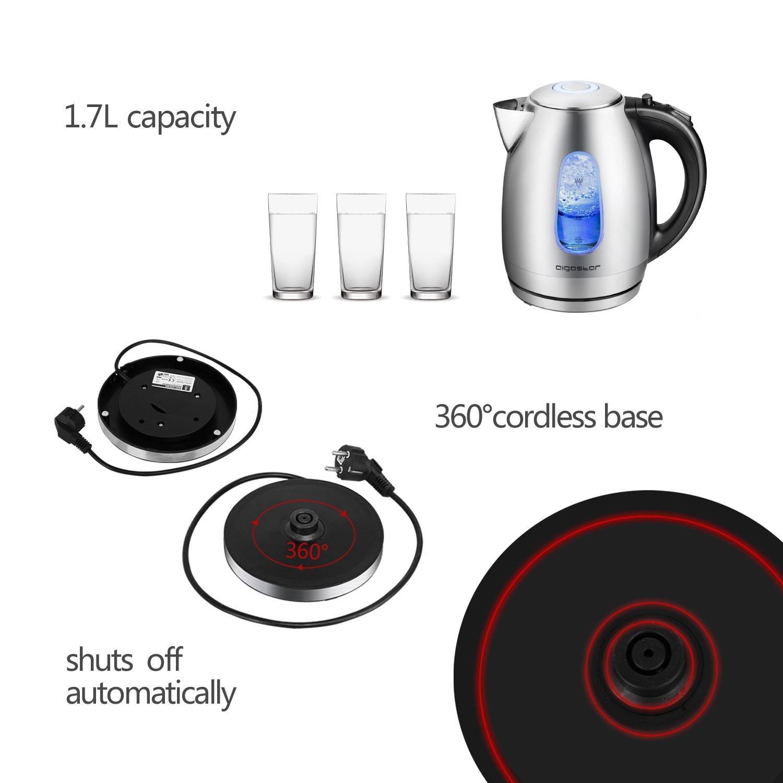 Aigostar Queen 30CDZ - Hervidor de agua con iluminación led de 1,7 litros, 2200 W, acero inoxidable pulido. Libre de BPA. Sistema de protección contra ...