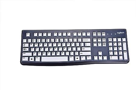 leze – Protector Ultra fino de silicona teclado piel cubierta para los modelos Logitech MK120 K120 blanco blanco